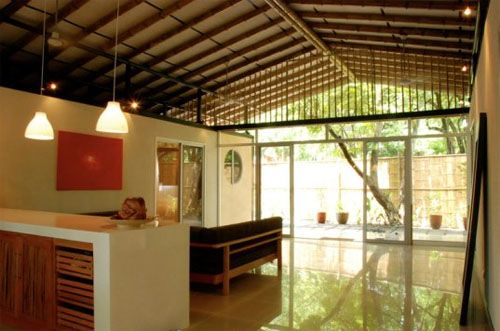 Inside Bamboo Groves Shipping Container House- website no longer current- pinned to remember open spaces between containers!