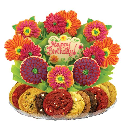 Gorgeous hand decorated flower cookie bouquet for that special someone's birthday. Who doesn't love cookies??