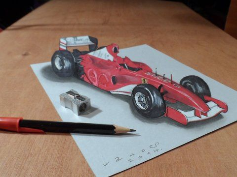 Trick art the Ferrari Formula 1 car. Trick art on paper. How to draw a realistic Ferrari Formula 1 car. Optical illusion. Mixed media.<br />Materials used: <br />Pastell paper: light gray.  <br />H graphit pencil (Derwent) <br />Markers: Letraset PROMARKER <br />Black and white charcoal pencil.<br />Prismacolor colored pencil.<br />White gel pen.<br />Grey Stabilo marker 0,4.<br />Black Faber - Castell pen 0,7. <br />Soft eraser.<br />Music: <br />Cut It - Silent Partner,<br />For sale: <a…