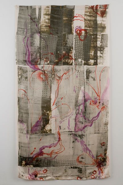 Black Cross Stitch 80 x 36 inches Deconstructed silk screen and hand painted MX dyes on raw silk dianne Koppisch Hricko