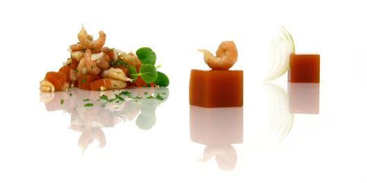 aperitief hapjes - Gelei van Tomaat met Garnaal - COOK EXPERIENCE