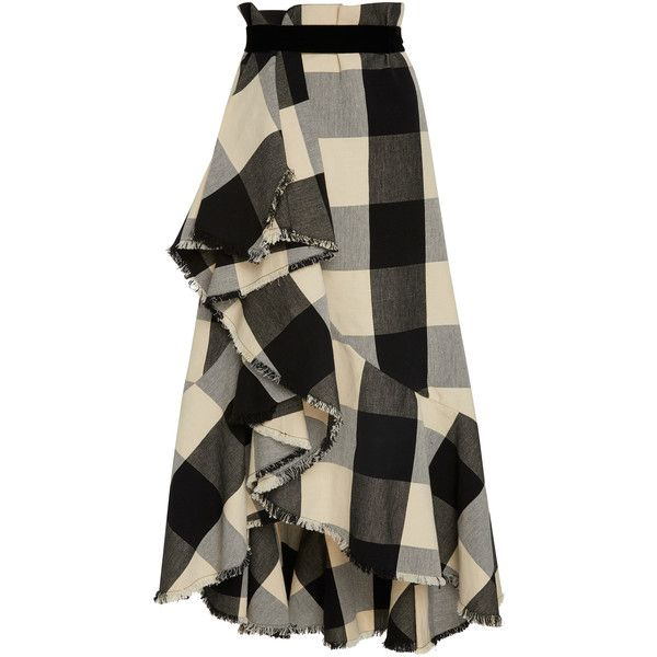 Johanna Ortiz Bosque Del Apache Skirt ($1,650) ❤ liked on Polyvore featuring skirts, bottoms, plaid, high-waisted skirt, tartan wrap skirt, high waisted plaid skirt, plaid skirt and plaid wrap skirt