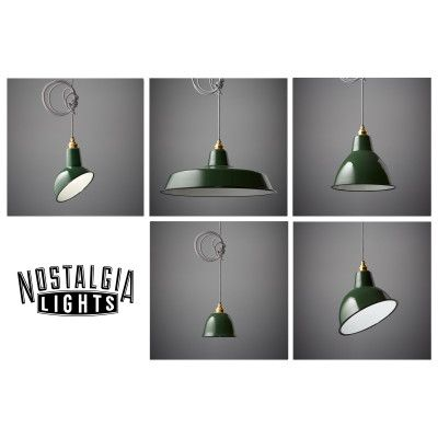 Nostalgia Lights Enamel Pendant Shade set in Green, from Nook