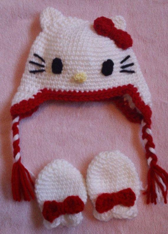 Hand Crochet Hello Kitty baby hat & mittens set by scotako on Etsy, $20.00