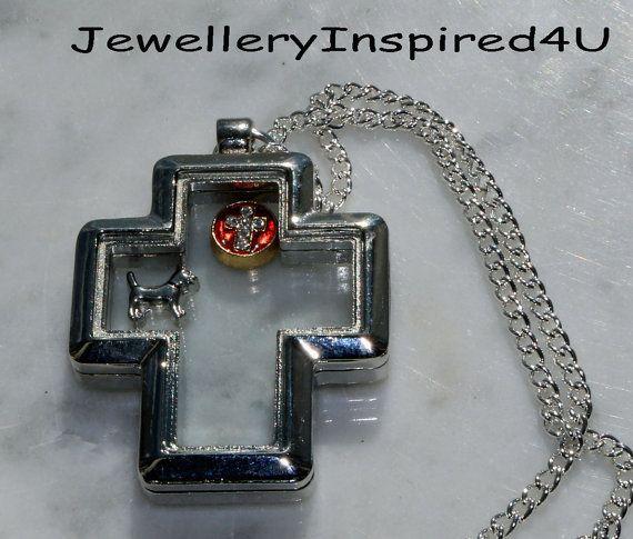 Urban Glass Cross Locket With Mini Floating by JewelleryInspired4U