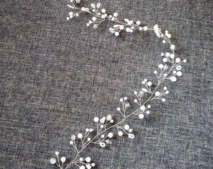 Cabello largo vid novia liana boda cabello liana cristal vid boda tocado cristal plata perla vid bohemio novia casco