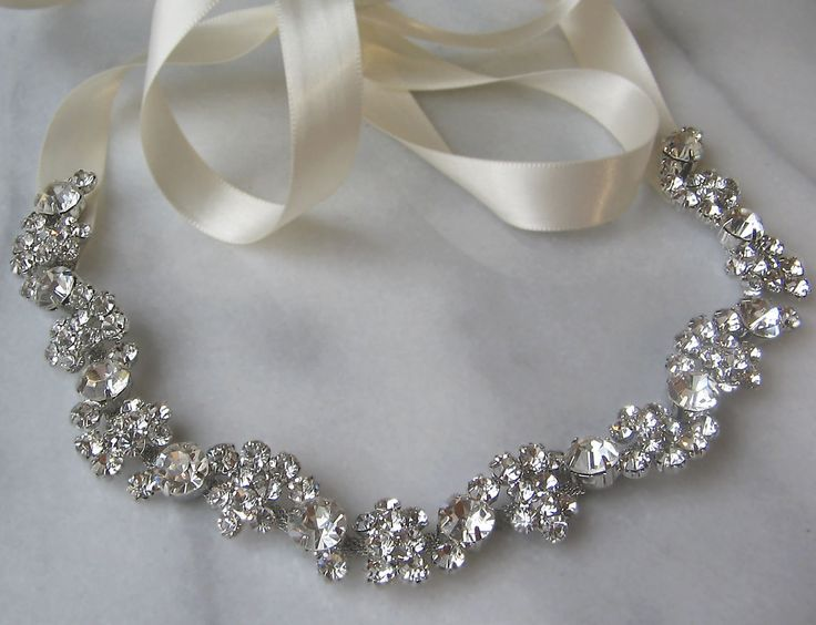Rhinestone Bridal Headband, Rhinestone Wedding Head Piece, Rhinestone Headband - SOLEIL. $78.00, via Etsy.