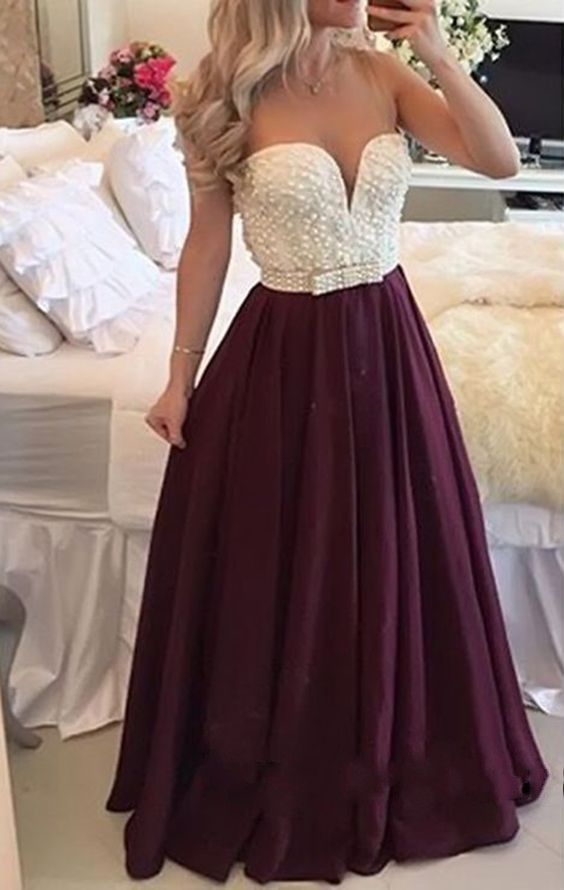 Sexy Burgundy Long Prom Dress, Plus Size Prom Dress, Prom Dress With Pearl…