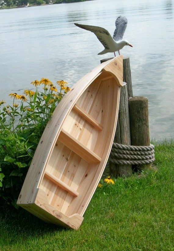 Nautical wooden outdoor landscape all cedar boat by PoppasBoats, $109.00 use for a nice chest