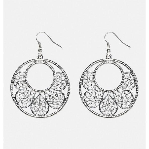Avenue Filigree Flower Petal Hoop Earrings ($7) ❤ liked on Polyvore featuring jewelry, earrings, plus size, silver, artificial jewellery, imitation jewelry, avenue jewelry, blossom jewelry and filigree jewelry