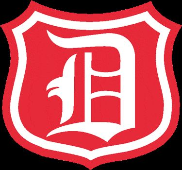 NHL Detroit Cougars Primary Logo (1927) - An Old English white D on a red shield
