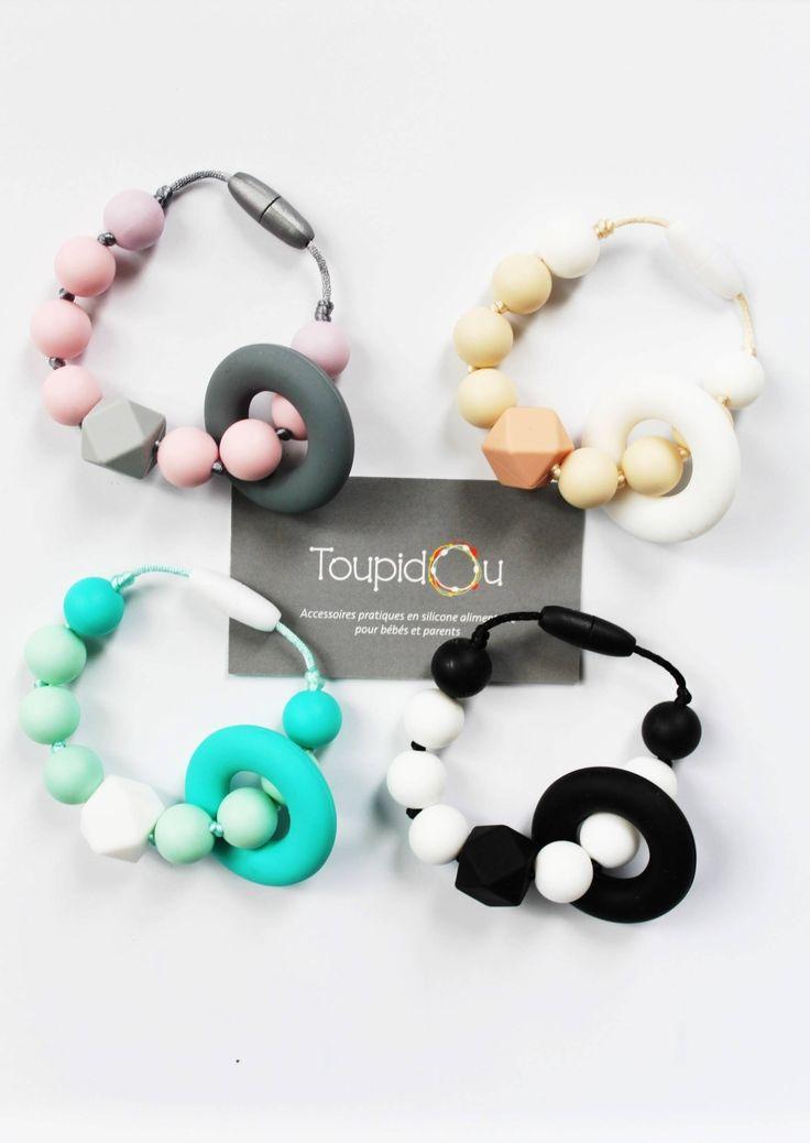 Bracelet Jouet de dentition TOUPIDOU. accessoire en silicone. perles. poussée dentaire. stimulation et éveil sensoriel. cadeau de naissance. de la boutique ToupidouAccessoires sur Etsy