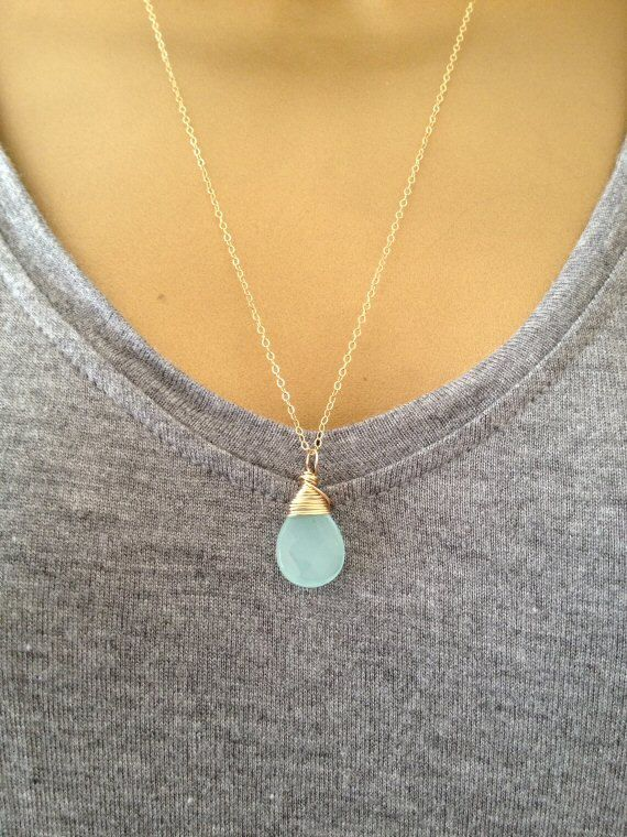 A gorgeous little handmade Necklace featuring a pretty faceted Aqua Quartz Briolette stone which i hand wrapped in 14K Gold Filled Wire!  It comes