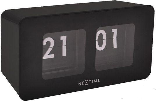 NeXtime Flipped - Klok - Rechthoekig - Kunststof - 17.5x7 cm - Zwart