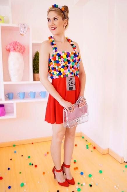 We are obsessed with this creative gumball machine costume from the blog The Joy of Fashion. The best part is that it's super-affordable for gals on a budget. #Halloween