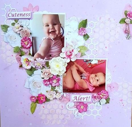 Cuteness Alert Baby Pink Scrapbooking Layout with diecuts, flowers and hexagon stenciling.  Kindy glitz and gesso applied to the flowers
