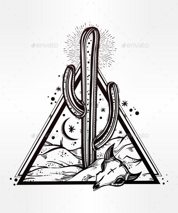 Hand Drawn Romantic Beautiful Desert Landscape. - Nature Conceptual