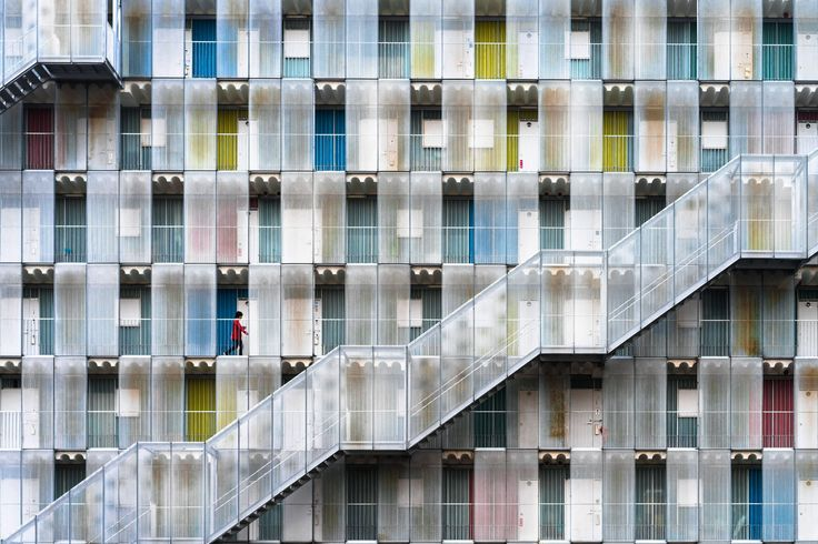 """Picture of  Gifu Prefecture of Japan.      """"This building is apartment complex in Gifu prefecture of Japan. It is very colorful, but it is an ordinary collective housing where ordinary people can live.""""—Tetsuya Hashimoto"""