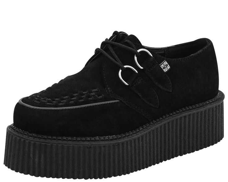 "BLACK SUEDE MONDO CREEPER BY T.U.K. The Original T.U.K. Creepers with Classic Mondo Rubber Sole. Black Suede, with Black Woven Interlace, and Silver Metal D-rings. The ""Mondo"" Creeper has a 1 7/8 inch"