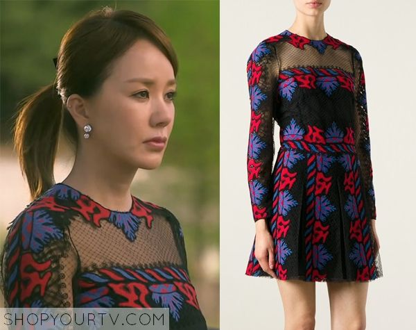 Witch's Romance: Episode 7 Ban Ji Yeon's Red and Purple Embroidered Dress - ShopYourTv