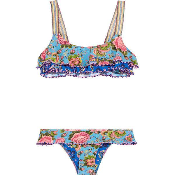 Anjuna Giselle crochet-trimmed printed bikini found on Polyvore featuring swimwear, bikinis, azure, multi color bikini, metallic bikini swimwear, bikini swimwear, floral-print bikinis and crochet trim bikini