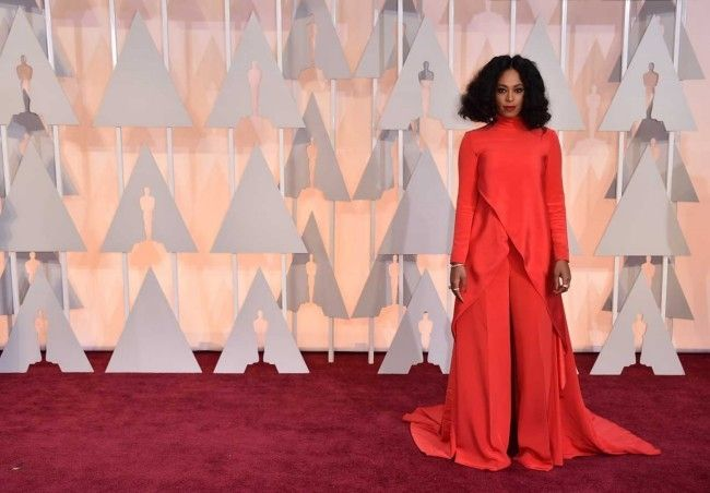 87th Academy Awards: Oscars 2015 red carpet : Solange Knowles in Christian Siriano