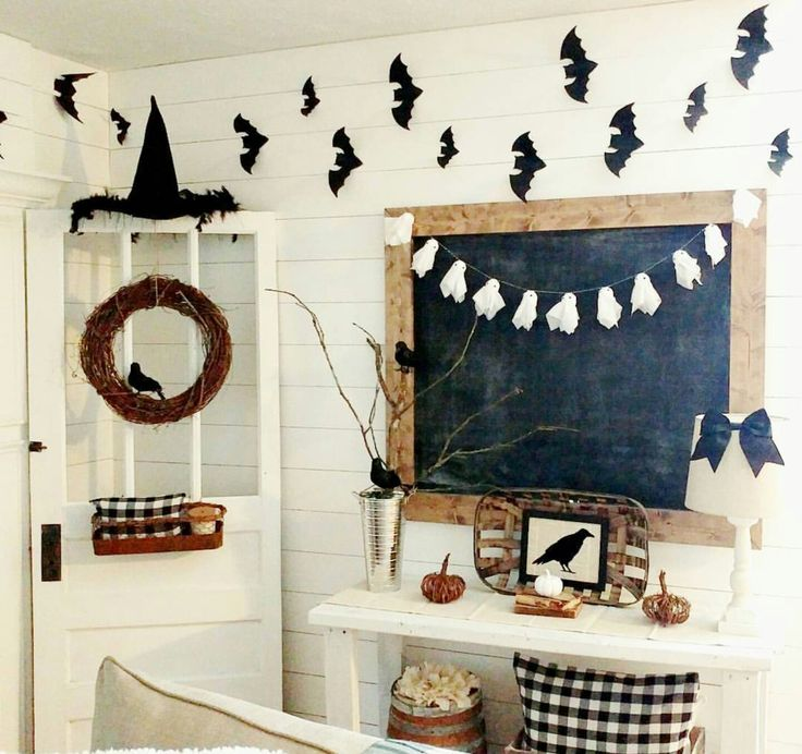 black and white neutral halloween decor on a budget