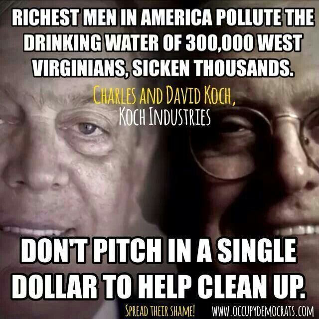KOCH BROS. bought REPUBLICANS to AVOID PAYING for their MASSIVE POLLUTION + to DEREGULATE ENVIRONMENTAL STANDARDS!!!!!