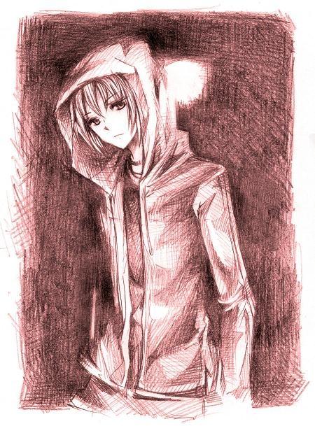✮ ANIME ART ✮ anime boy. . .jacket. . . drawing. . .hood. . .pencil. . .graphite. . .cute. . . .kawaii