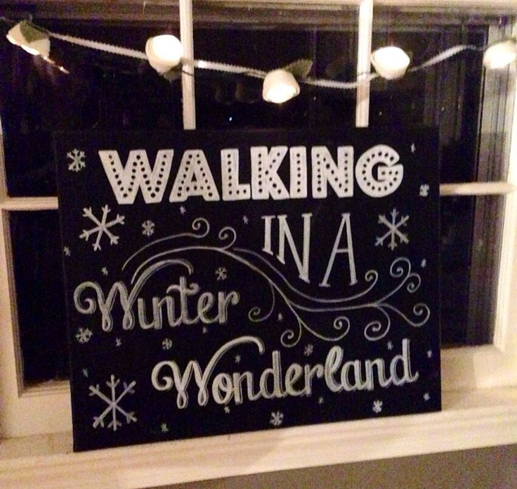 Winter Wonderland Hand Painted Chalkboard Canvas by mylittlemidge, $40.00