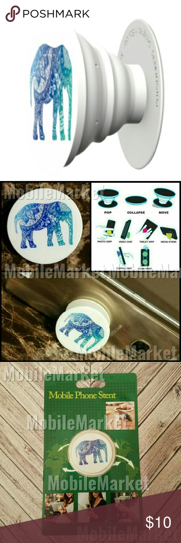 Mobile phone grip/stand lacey ombre elephant *this is an individual listing for 1 phone stand, color is according to first picture*  Pop, tilt, wrap, grip, collapse, repeat! Mobile phone stent like a pop socket (popsocket). Have a secure grip while calling, taking selfies, and texting. Use as a phone stand, portrait and landscape mode. and even to wrap your headphones around and prevent tangles and knots!! Retail packaging makes it the perfect gift! Mobile Market Accessories