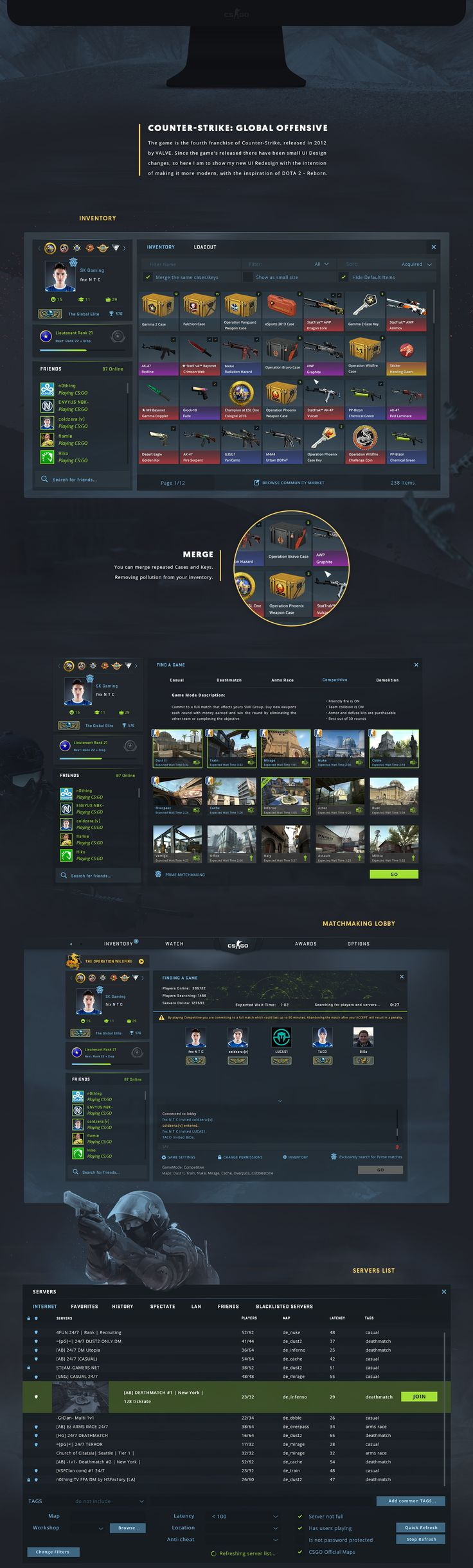 The game is the fourth franchise of Counter-Strike, released in 2012 by VALVE. Since the game's released there have been small UI Design changes, so here I am to show my new UI Redesign with the intention of making it more modern, with the inspiration of …