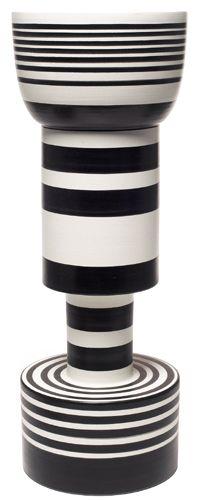black white striped vase