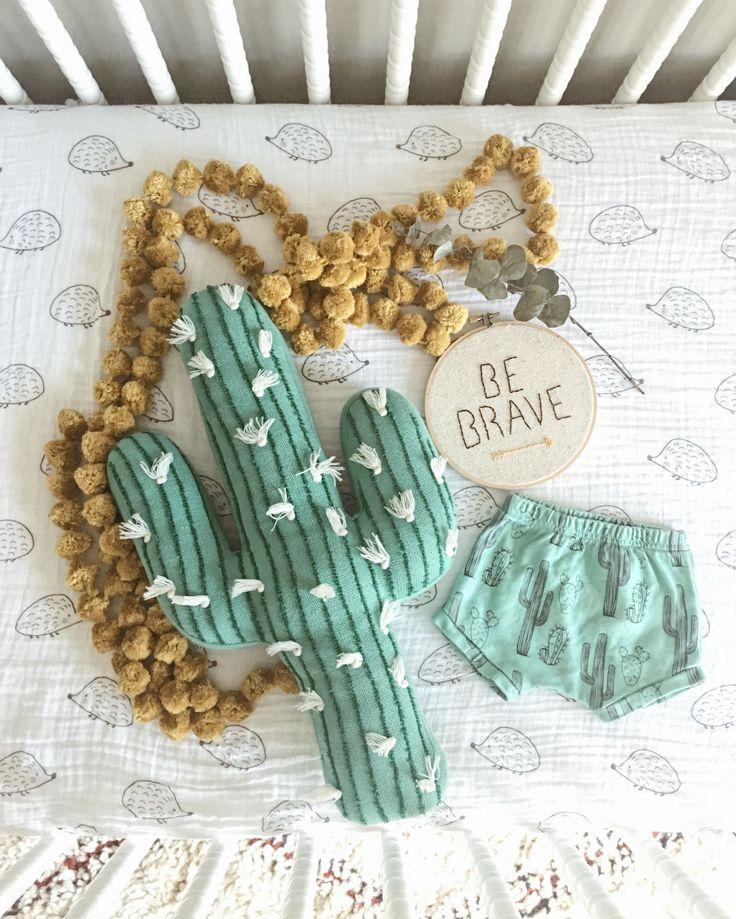 Cactus theme vintage Pom nursery be brave. Newborn baby flatlay