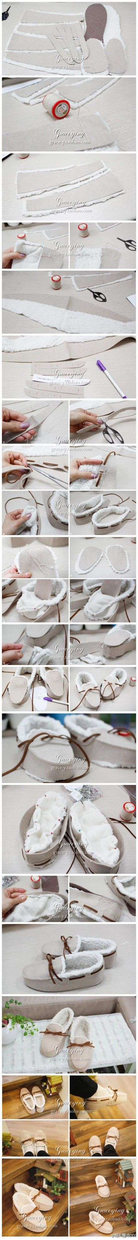 DIY Fuzzy Mocs by duitang #Slippers #Moccasins #duitang
