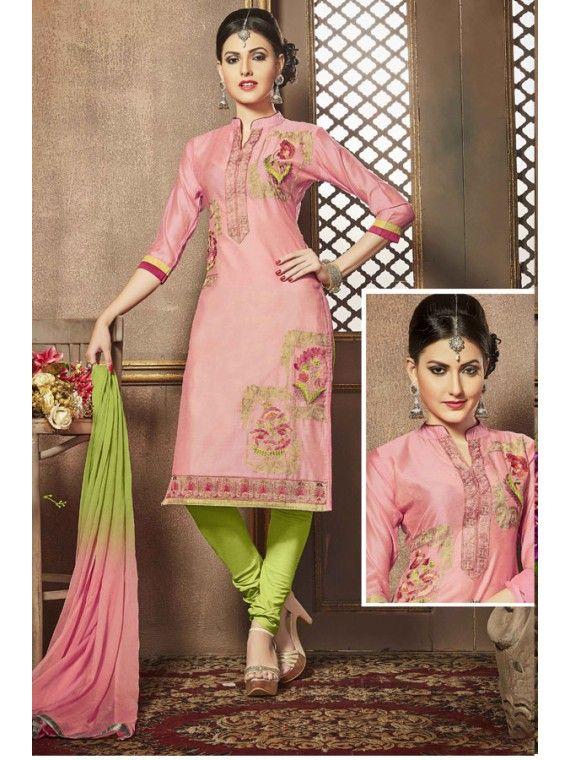 Vibrant Pink And Green Embroidered Salwar Kameez
