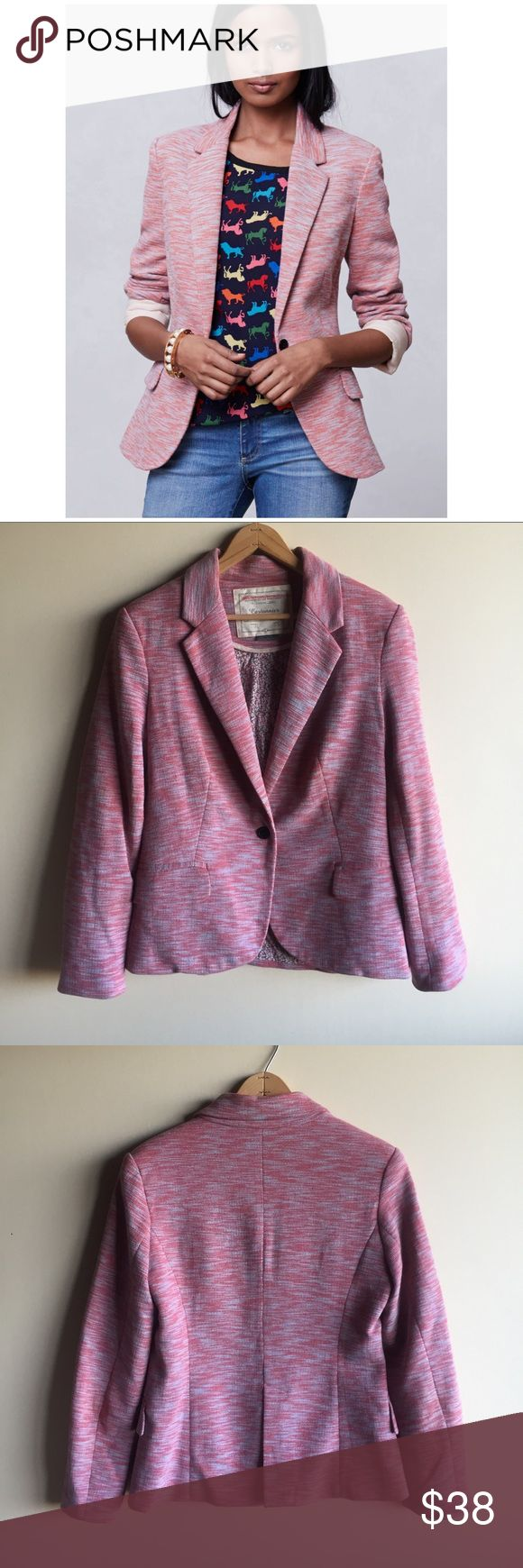 """Anthropologie Cartonnier tonal knit blazer Cartonnier knit blazer in red and a blue -ish grey. One button closure. Cute floral lining. Gently worn in great condition! Measures 20"""" from underarm to underarm and 25"""" long. Anthropologie Jackets & Coats Blazers"""