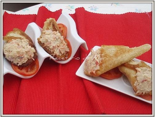 cucuruchos de pan con ensaladilla