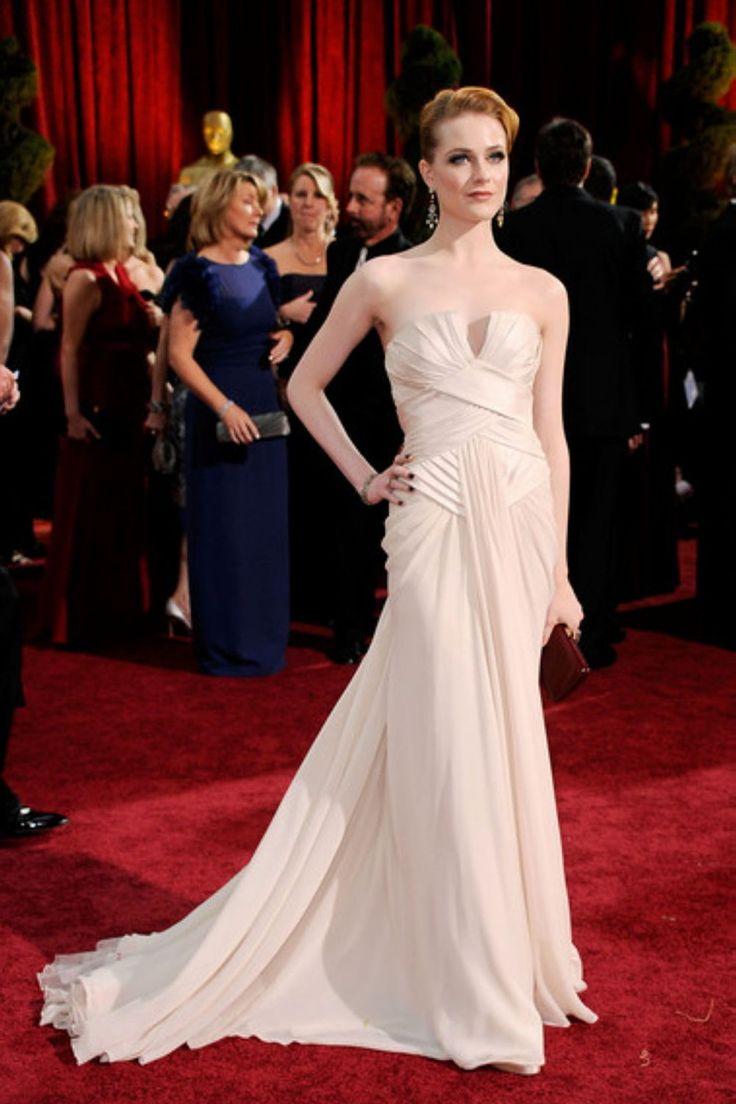 Oscar winning celebrity wedding dresses - Evan Rachel Wood Strapless Ruched Oscar Light Pink Celebrity Dress