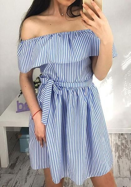 1cbd92d87b4cb Blue-White Striped Sashes Draped Vintage Off Shoulder Ruffle Homecoming  Party Mini Dress