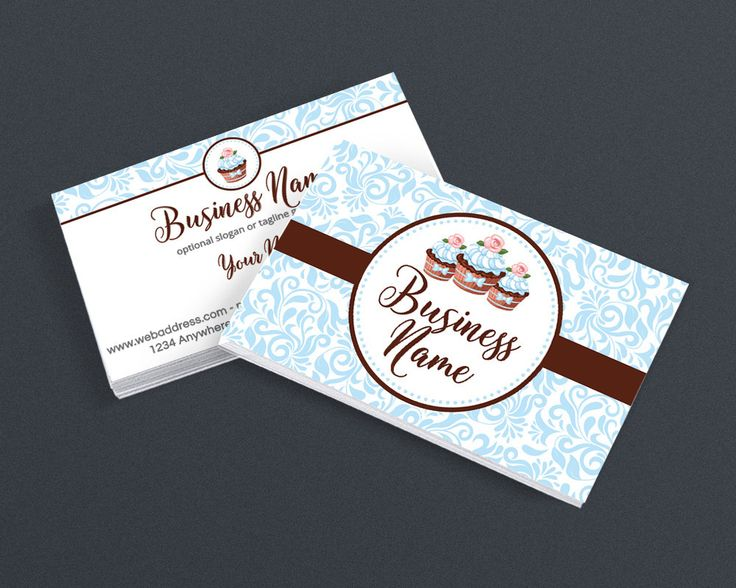 Bakery Business Card Design Pastry Chef 2 Sided Printable
