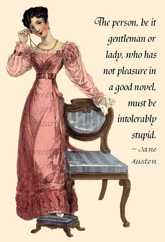 Jane Austen Quotes  - Northanger Abbey - by prettygirlpostcards, $1.95