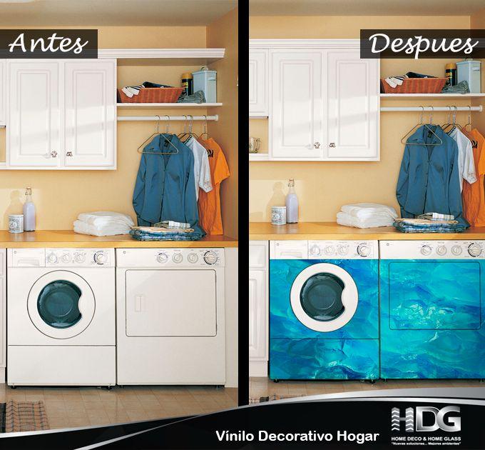 Vinilos para tu cocina. Dale una imagen súper moderna a tu lavadora y crea un ambiente inigualable.