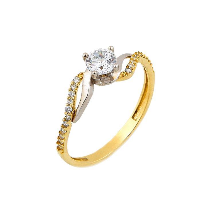 Μονόπετρο δαχτυλίδι κίτρινο, χρυσό Κ.14 (585°) με λευκές πέτρες ζιργκόν Swarovski® και λευκόχρυσες λεπτομέρειες.    #tasoulis_jewellery #gold #ring #k14 #μονόπετρο #δαχτυλίδι #χρυσό #αρραβώνας #engangement #swarovski