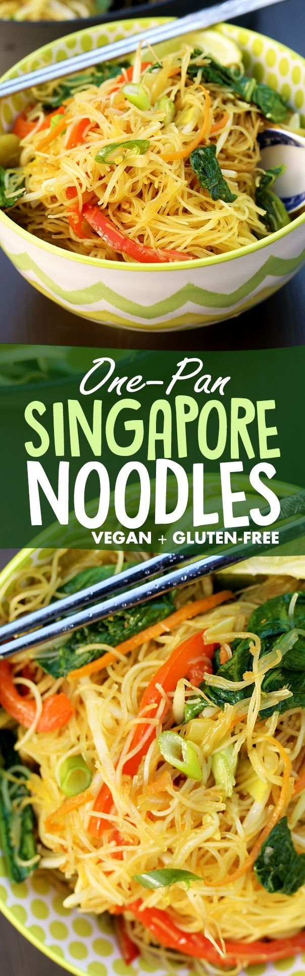 Simple One Pan Singapore Noodles recipe made from rice vermicelli, curry powder, bean sprouts, bok choy, spring onion, carrots, red pepper, snow peas, and a ton of other nutritious and easy-to-get ingredients. Vegan, gluten-free, and healthy!