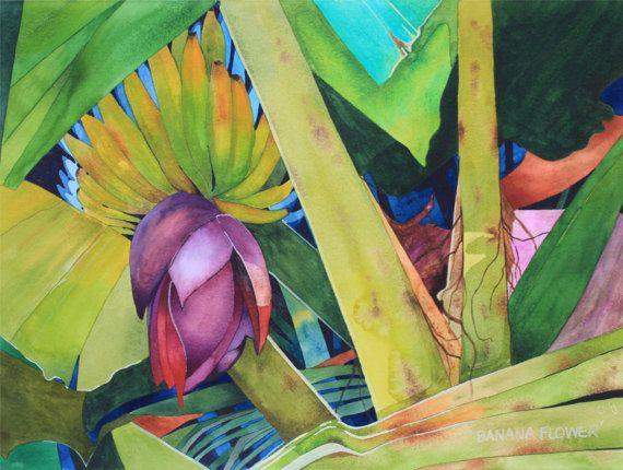 New Painting.....Art Original Watercolor Painting Tropical HAWAIIAN BANANA FLOWER