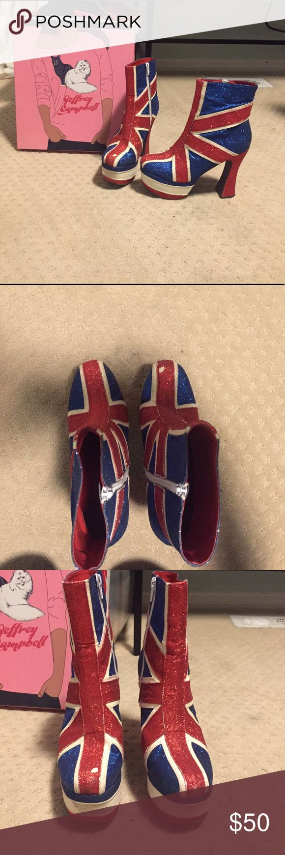 BOGO Union Jack spice girl boots You will be the life of the party in these (surprisingly comfortable) head turners. Perfect for pride and Halloween. Small chipping of glitter as shown in pics. Comes with box. Jeffrey Campbell Shoes Platforms