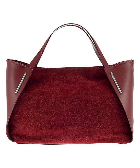 Suede-Block Leather Shoulder Bag