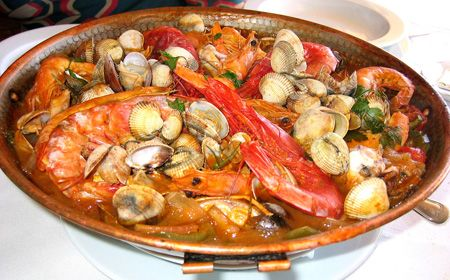 Cataplana - a Portuguese dish serving a version of Paella