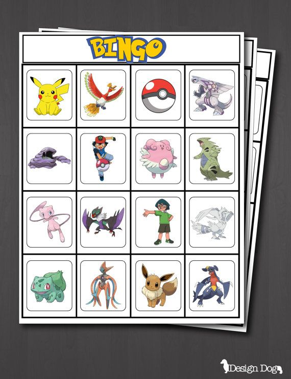 POKEMON Birthday Party Bingo Game- Set of 15
